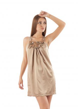 Платье летнее свободного покроя бежевого цвета,платье атласное
