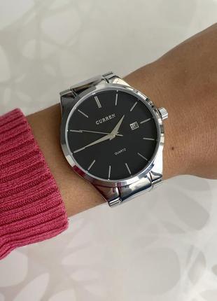 Женские металлические часы curren каррен серебристые с черным ...