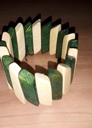 Браслет деревяний ручної роботи handmade зелений