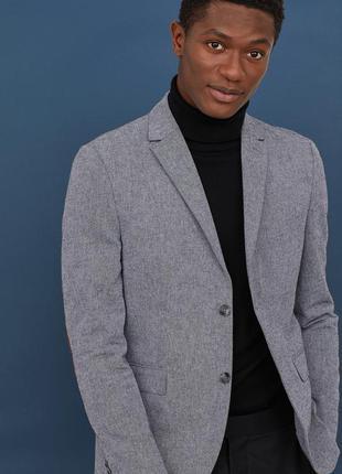 Мужской пиджак h&m conscious collection  50% коттон50% лен.