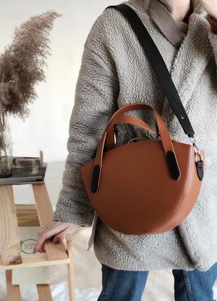 Терракотовая сумка полукруглой формы рыжий клатч необычный шир...