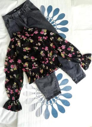 Черная полупрозрачная шифоновая блуза блузка цветочный чорна н...