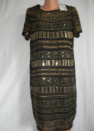 Новое нарядное платье с вышивкой бисером и пайетками