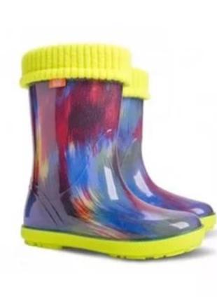 Детские резиновые сапоги 20-35р демар цветные