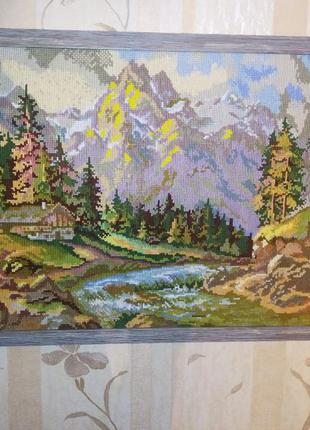 Картина- гобелен ,пейзаж, вышивка крестом