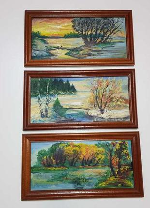 Коллекция картин, пейзажи, масло, художник vorobey, 3 шт. 1999...