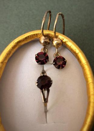 Винтажный набор серебро ссср 875 звезда, кольцо серьги аметист