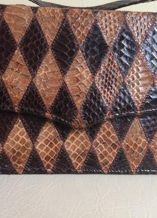 Винтажная сумочка 100% натуральная кожа змеи