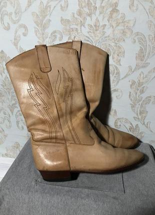 Сапоги казаки высокие кожаные