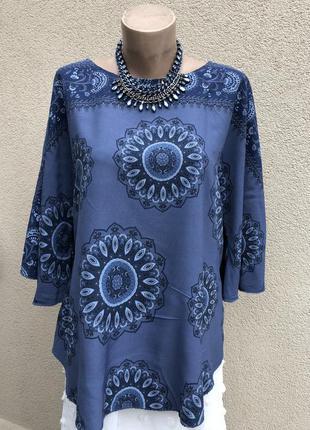 Штапельная блуза реглан,рубаха,этно бохо стиль,большой размер