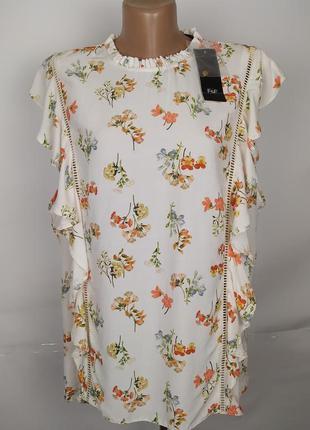 Блуза новая натуральная рюши принт большой размер f&f uk 22/50...