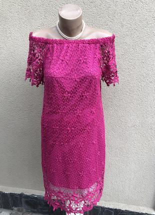 Малиновое платье,туника,открытые плечи,кружево,этно бохо стиль,