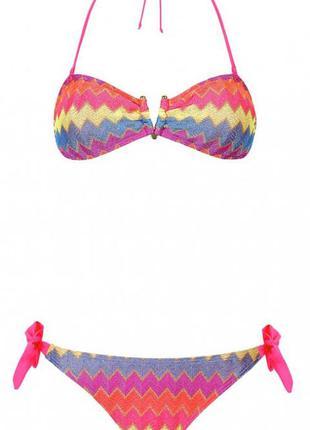 Радужный  купальник бикини бандо ocean club primark р. м-l