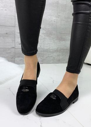Легкие чёрные туфли на низком каблуке