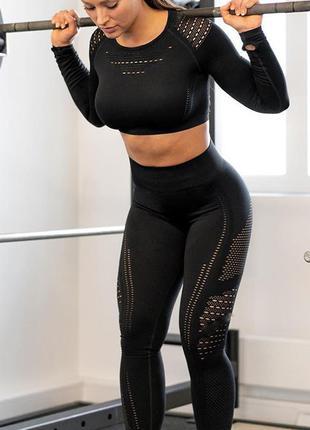 Спортивный костюм женский для фитнеса. комплект бесшовный (раш...