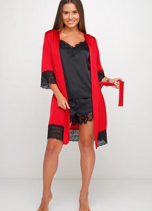 Шелковый нежный халат с кружевом красного цвета 44 46 48 размер