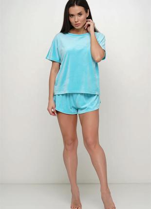 Велюровая мягкая пижама  двойка  Мятного цвета.42 44 46 размер