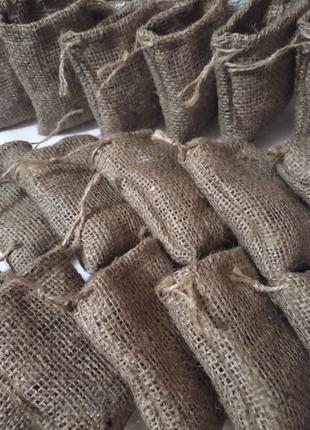 Мешочки из джутовой мешковины, мешки для кофе, экоупаковка.