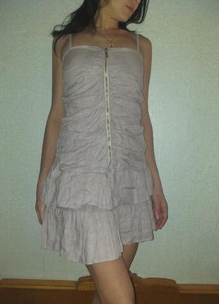 Льняное платье сарафан  цвет пудра размер s-m