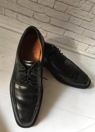 Туфли, ботинки, черные мужские, оригинал, ecco, натур. кожа