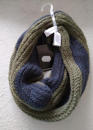 Вязаный шарф снуд крупна подвійна вязка