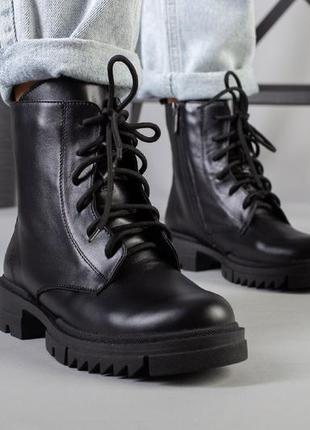Черные женские ботинки из натуральной кожи