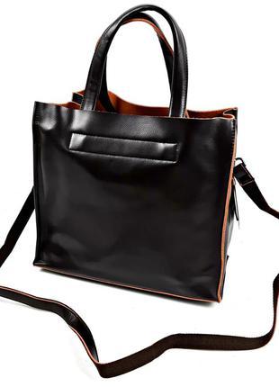 Женская кожаная сумка шопер, коричневая galanty