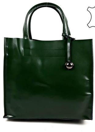 Женская кожаная сумка шопер, зеленая galanty