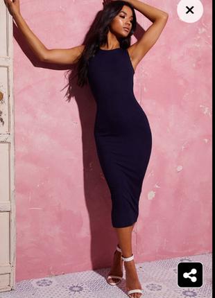 Темно-синее базовое платье миди
