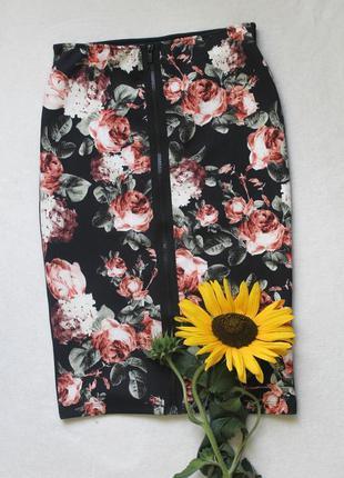 Юбка карандаш цветы от h&m, размер s ❤️