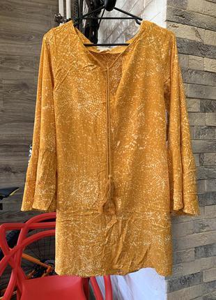 Платье туника пляжная с рукавами воланами