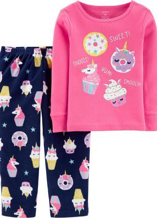 Новая пижама хлопок флис carters 2т,  картерс