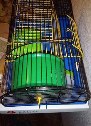Клетка для маленького хомяка джунгарика домик колесо поилка ле...