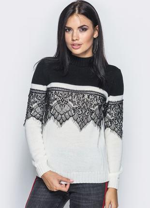Модный свитер с кружевом 42-46. много расцветок!