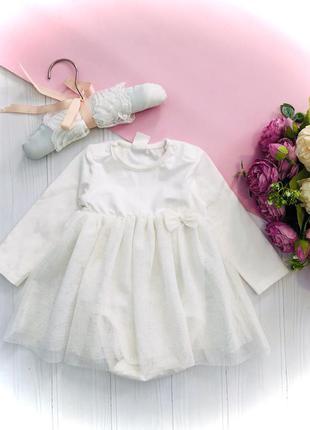 Нежное боди платье с фатиновой юбкой