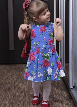 Потрясное яркое платье в цветочный принт