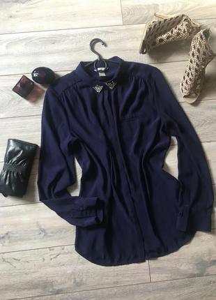 Стильная темно синяя блуза блузка с украшениями камнями h&яm