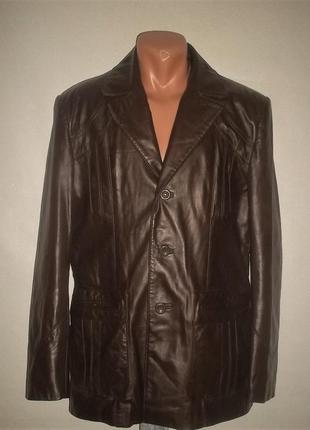 Мужская кожаная куртка пиджак