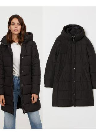 Черная куртка за колено на синтепоне,куртка демисезон длинна