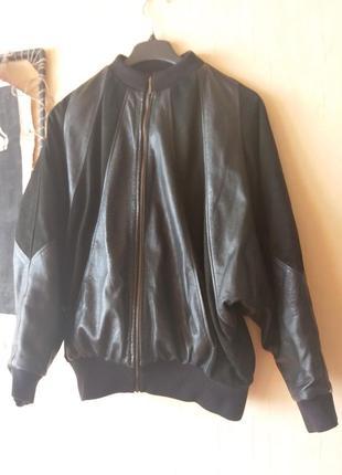 Бомбер кожа. кожаная куртка комбинированная