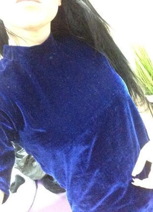 Синяя бархатная велюровая футболка кофточка