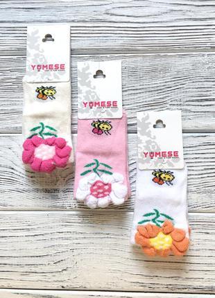 Детские носки цветочек yumese для девочки 6-12мес.,4-5 лет