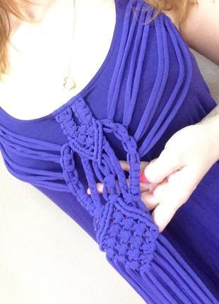 Летнее платье с красивым плетёным  декором