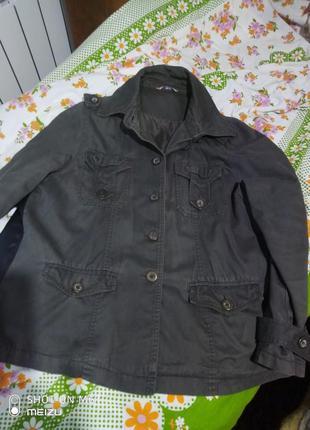 Куртка пиджак котон с лампасами из кожзама на подкладке для пы...
