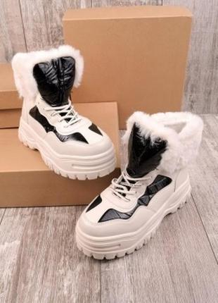 ✅ массивные ботинки на высокой подошве с опушкой мех на флисе