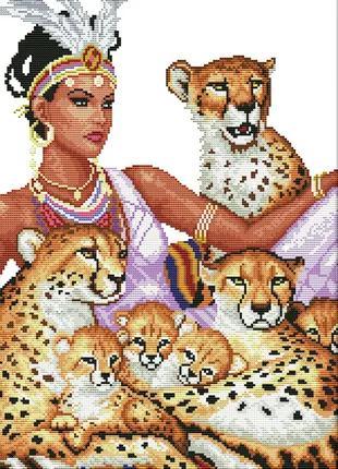Набор для вышивки крестом Леопарды 41*28 см