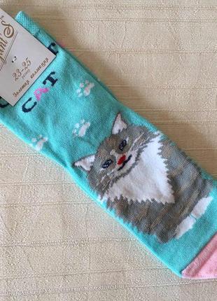 Женские носки бирюзовые с кошечкой 36-39 размер