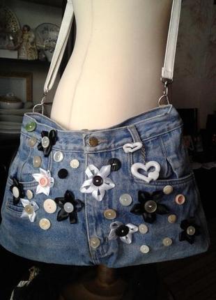 Весёлая сумка джинсовая хенд мейд