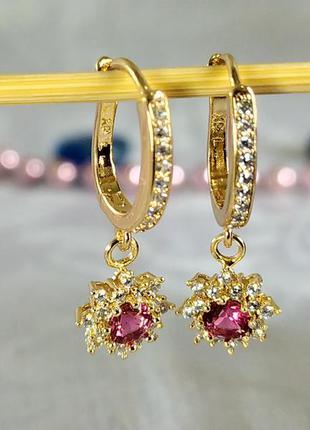 Позолоченные серьги с красными кристаллом и цирконами, сережки...
