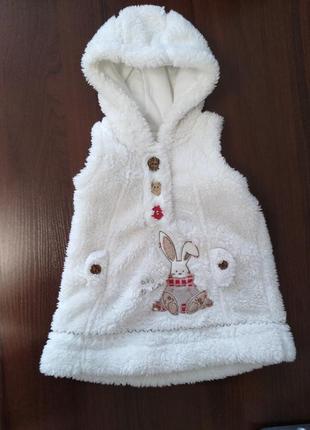 Меховая куртка жилетка безрукавка кофта на малышку next